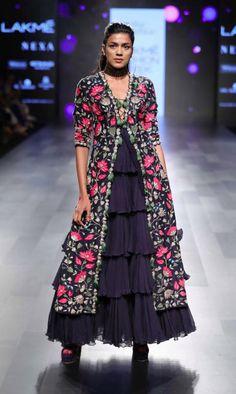 How stunning is this floral floor length jacket lehenga by Arpita Mehta #Frugal2Fab
