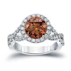 Auriya 14k Gold 2 3/4ct TDW Round Cut Brown Diamond Halo Engagement Ring (Brown, SI2-SI3) (White Gold - Size 4), Women's