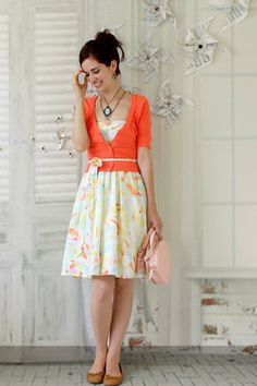 this look from the ModCloth Style Gallery! Cutest community ever. Casual Dress Outfits, Cute Outfits, Green Skirt Outfits, Work Outfits, Sweater Over Dress, Modest Fashion, Fashion Outfits, Pin Up, Spring Skirts