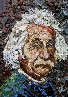 This portrait of Albert Instein is created with buttons, toys, sea shells and other random items.