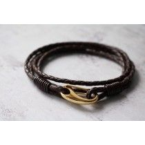 Men's Leather Wrap Bracelet with Gold Coloured Clasp - Personalised Gold Plated Saint Christopher with Diamond Cut Silver Edging St Christopher Medal, Saint Christopher, Braided Bracelets, Leather Bracelets, Leather Men, Diamond Cuts, Saints, Silver, Gold