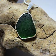 Emerald Green Bezel Set Sea Glass Necklace by SilverandSeaJewelry