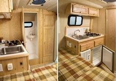 Scamp 13' small travel trailer interior - deluxe model bathroom and kitchen