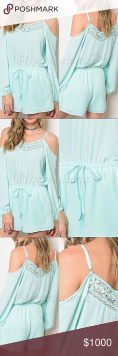 "COMING SOON!!  Open-Shoulder Mint Romper COMING SOON!!  Pretty as ever, open-shoulder mint Romper.  100% Polyester. Size S-M-L Description:  L: 31"", B: 36"", W: 26"", I.S. : 2""  PRICE IS FIRM UNLESS BUNDLED!!  YOU MAY BUNDLE FOR A DISCOUNT!! TheresaLena Boutique Shorts Skorts"