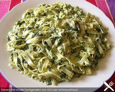 Tagliatelle mit Mascarpone und Spinat