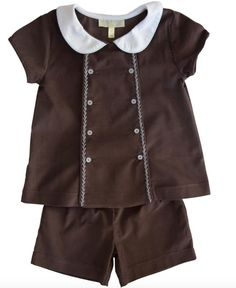 The front panel reverses to change up the look. One side is a plain panel and the other side is embellished with pale blue herringbone embroid Brown Shorts, Baby Girl Newborn, Girl Outfits, Rompers, Short Set, Dresses, Fashion, Baby Clothes Girl, Vestidos