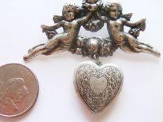 Vintage Locket Brooch / Pin / Angel Locket Brooch / Pin / Locket Jewelry /  Nouveau Brooch / Pin / Angel Jewelry / Nouveau Jewelry by TamJewelryandUniques on Etsy