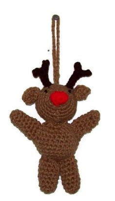 Rudolph The Red Nosed Reindeer Christmas Ornament by amydscrochet, $5.00