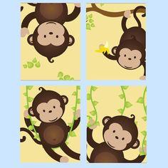 Monkey Nursery Art Prints for boy or Girl Set of Four  by LittlePergola, $55.00