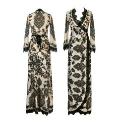 Michal Negrin Wrap Dress w Lace
