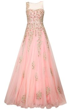Jyotsna Tiwari presents Pastel pink floral embroidered gown available only at Pernia's Pop Up Shop. Indian Gowns, Indian Outfits, Pink Fashion, Indian Fashion, Women's Fashion, Salwar Kameez, Pretty Dresses, Beautiful Dresses, Wedding Decor