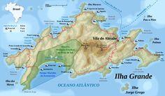 Mapa de praias de Ilha Grande