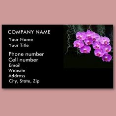 Dew-Kissed Orchids Business Cards by birdersue from Zazzle - Beautiful pink/purple cascading orchids on a black background. Digital Photography by Sue Melvin.
