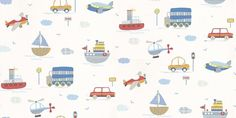 Tiny Tots (G45163) - Galerie Wallpapers - A fun and vibrant all over wallpaper design, featuring various modes of transport including boats, planes, cars and lorries. Shown here in grey, blue and red on an off white background. Other colourways are available. Please request a sample for a true colour match.