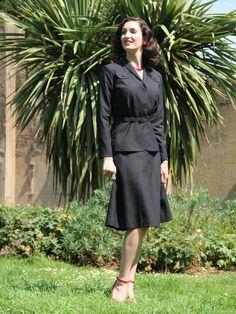 Ladies 1940s Wartime Suit - Black