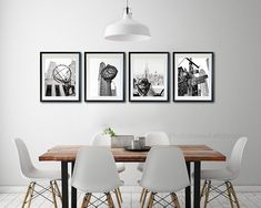 New York Photography Poster Travel Landscape Set Of 4 Large Wall Art Black And White Photography Office Decor Home Decor Gallery Wall