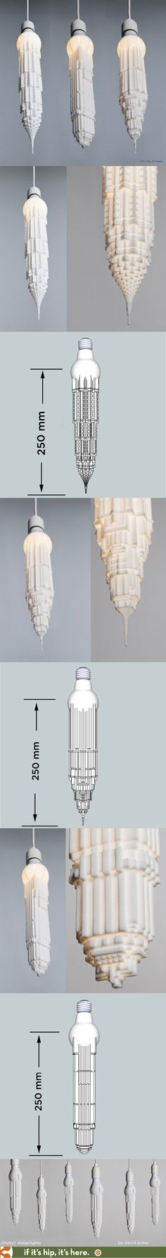 Stalaclights - 3D printed Upside Down Art Deco Skyscrapers on LED Bulbs make for awesome pendant lights. #artdecofurniture