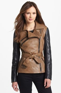 Laundry by Shelli Segal Two Tone Leather Moto Jacket | Nordstrom