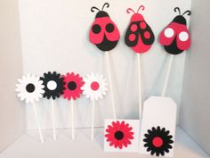 Ladybug Party Decoration Package-Baby Showers, Shower Decorations,Birthday Parties, Ladybugs, Flowers, Party Supplies, Party Decor,