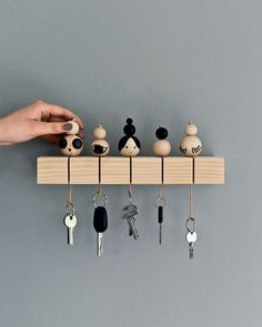 """interior-design-home: """"DIY Key Holder You will need: • A piece of light wood, for example. a piece of lath from a DIY store. • A hacksaw or a jigsaw. Results would be best with a jigsaw. • Beads of..."""