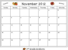"3rd Grade Gridiron: Friday Freebie - ""What I'm Thankful For"" Calendar"