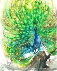 """""""Royal Highness"""" by @jongkie Watercolor on paper size 29,7x42cm 300gsm. SOLD. See how I made this painting at my YouTube channel artjongkie. Or click link on bio Good morning and have a nice day. #watercolor #watercolour #peacock #painting #illustration by #jongkie ♥🌸♥"""