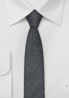 Extra Slim Tie in Textured Silver