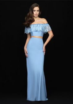 ec4635a44cec Buy 2018 Zipper Two-piece Off-the-shoulder Satin Blue Pink Mermaid Sweep  Sleeveless Prom