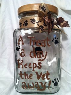 Hand painted decor, Dog Treat Jar, Pet Jar, Decorative pet accessory, Painted Treat jar