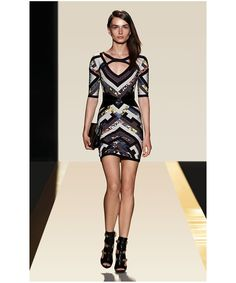 Geometric Printed V Neck Bandage Dress H767