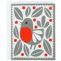 Super cute Christmas card with robin motif.
