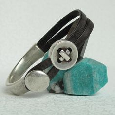 Button Up Smoky Gray Leather Bracelet W Antiqued by moonjigjewelry, $45.00