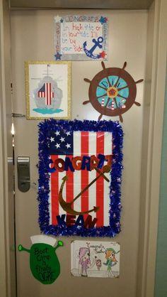 Hotel door decoration for navy boot camp graduation navy for Hotel door decor