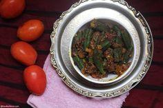 Punjabi Style Bhindi Masala Recipe Punjabi Style okra fry Recipe – Foodiezflavor.com Indian Food Recipes, Vegetarian Recipes, Ethnic Recipes, Bhindi Masala Recipe, Okra Fries, Veg Dishes, Seaweed Salad, Palak Paneer, Spicy