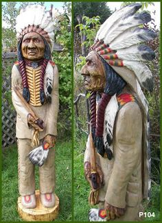 Very detailed chainsaw carving, hand painted. By TheBearGuy Wood Carving Designs, Wood Carving Patterns, Chainsaw Wood Carving, Wood Carvings, Chain Saw Art, Cigar Store Indian, Wood Craft Patterns, Wooden Statues, Tree Carving