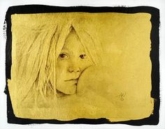 Alexis in Gold (on 23K gold-leafed paper) by Merglenn Studios Digital Pigment Print ~ 7 inches x 9 inches