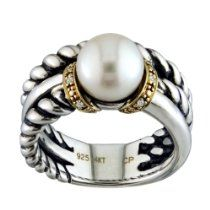 14K Yellow Gold and .925 Sterling Silver Freshwater Pearl and Diamond Ring.