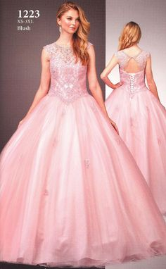 Quinceanera Dresses Prom Dresses by DANCING QUEEN<BR>aqn1223<BR>Illusion scoop neckline bodice with sparkling bead work front to lace up keyhole back.