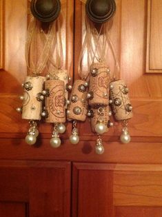 Wine cork ornaments.