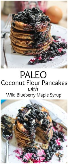 AMAZING grain-free, paleo-friendly coconut flour pancakes served with fresh wild blueberry maple syrup!