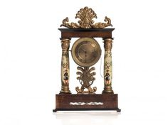 Handpainted Viennese Mantel Clock, Around 1850 History Of Time, Love Time, Clocks, Hand Painted, Watches, Pearls, Wood, Wristwatches