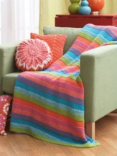 Striped Blanket | Yarn | Free Knitting Patterns | Crochet Patterns | Yarnspirations