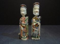 PAIR ANTIQUE CHINESE CARVED IVORY SNUFF BOTTLE 19TH CENTURY. 14 CM TALL