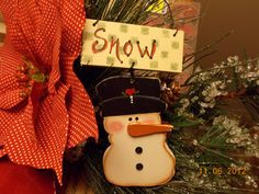 Snowman  handmade ornament gift tag  ofg by PrimitivePrairie