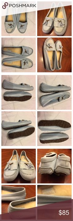 UGG Australia Leather Loafers  New UGG Australia Leather Loafers for Men. Beautiful pair of size 10 shoes with no heel. Baby Blue color. Preowned but never used. Shoes in excellent condition. No originally box, no hold, and No trades. UGG Shoes Loafers & Slip-Ons
