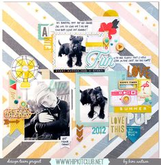 The Hip Kit Club Monthly Scrapbook Kit Club offers the best monthly Embellishment, Paper, Cardstock, Project Life and Color Scrapbook Kits! Dog Scrapbook, Scrapbook Pages, Hip Kit Club, Photographs And Memories, Crate Paper, Layout Inspiration, Craft Work, Scrapbooking Layouts, Cool Designs