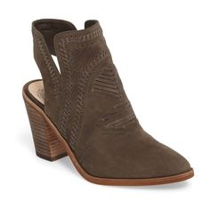 Women's Vince Camuto Binks Bootie (440 RON) ❤ liked on Polyvore featuring shoes, boots, ankle booties, green suede, vince camuto booties, green suede boots, western ankle boots, western boots and western bootie