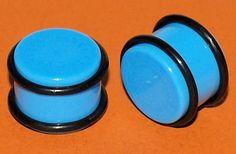 Pair Turquoise Acrylic Saddle Ear Plugs 5/8 Gauges 16mm