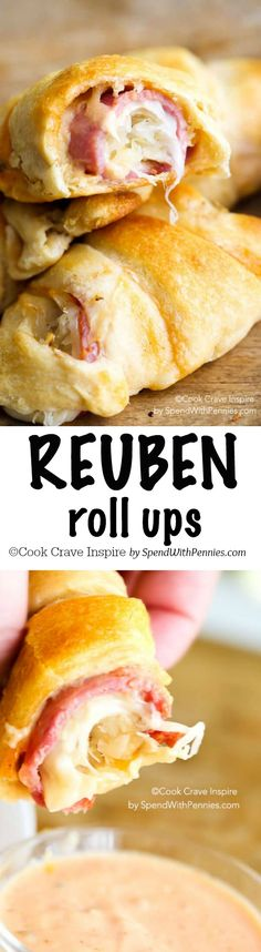 Reuben Roll Ups! All of the deliciousness of a reuben sandwich in an easy to mak… Reuben Roll Ups! All of the deliciousness of a reuben sandwich in an easy to make roll up! Perfect for snacks, appetizers or lunch! Reuben Sandwich, Sandwich Recipes, Croissant Sandwich, Lunch Recipes, Bread Recipes, Appetizer Dips, Appetizer Recipes, Meat Appetizers, German Appetizers