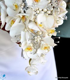 #Cascading Orchids and Jewels #BroochBouquet
